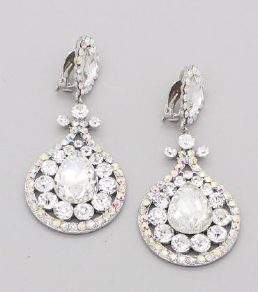 AB Rhinestone Clip On Pageant Earrings image 1