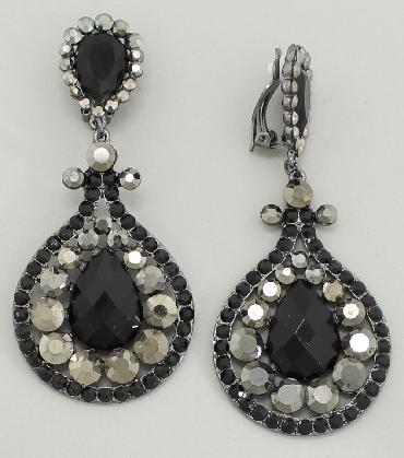 Black and Grey Rhinestone Statement Clip On Pageant Earrings image 1