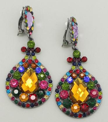 Multi Color Large Clip On Earrings image 1