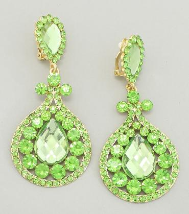 Light Green Rhinestone Clip On  Pageant Earrings image 1