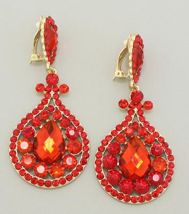 Red Crystal Rhinestone Statement Clip On Earrings image 1