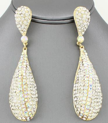 Clear/AB Long Pageant Earrings image 1
