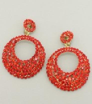 Image of extra long chunky crystal earrings clip on