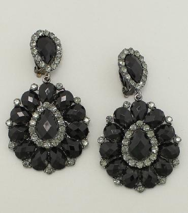 Black Chunky Clip On Earrings image 1