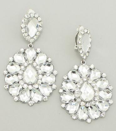 Clear Chunky Clip On Earrings image 1