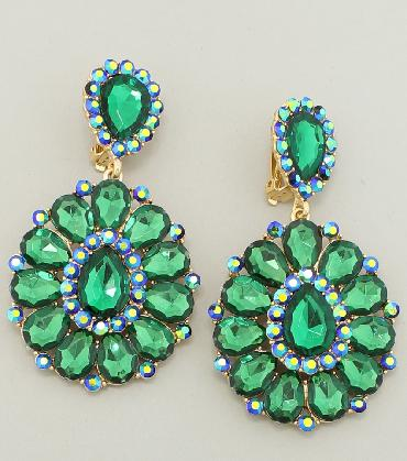 Image of Large Chunky Green Clip on Earrings