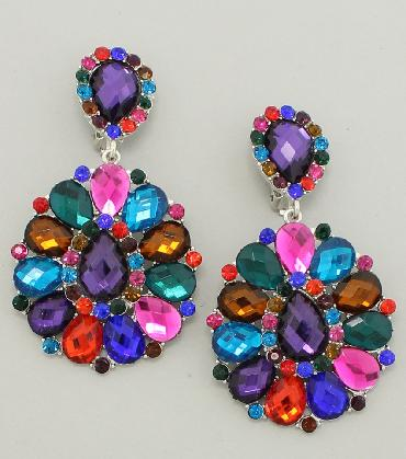 MultiColor Chunky Clip on earrings image 1