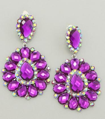 Purple Chunky Clip On Earrings image 1
