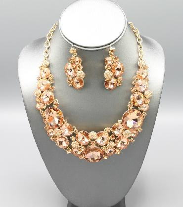 Peach Statement Necklace Set image 1