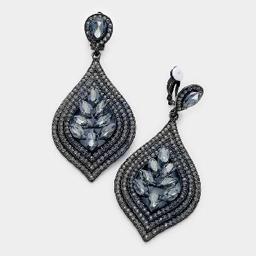 Black Diamond Crystal Pageant Clip On Earrings image 1