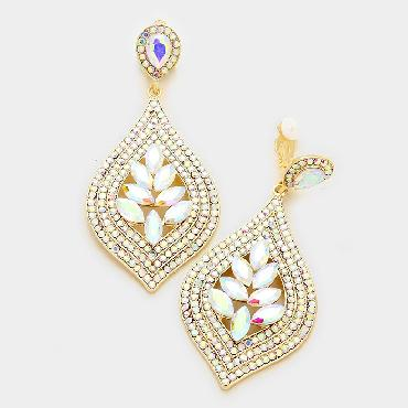 AB / Gold Clip On Chandelier Earrings image 1
