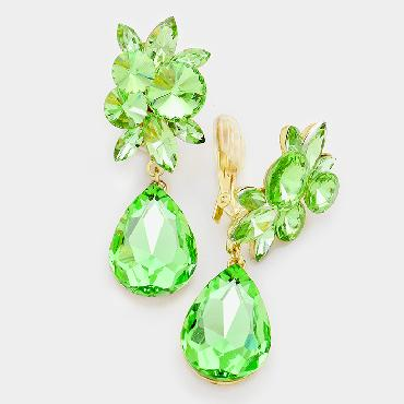 Image of Light Green Rhinestone Clip On