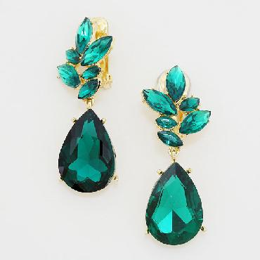 Emerald Green Clip On Earrings image 1