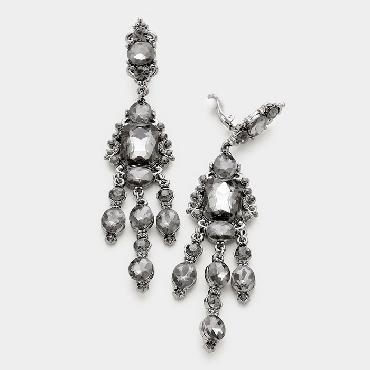 Black Diamond/Gunmetal Long Clip On Earrings image 1