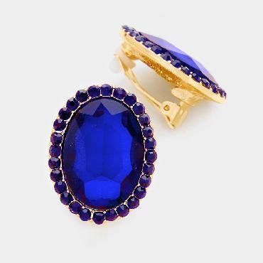 Royal Blue Stud Clip On Earrings image 1