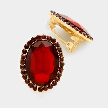 Red Crystal Stud Clip On Earrings image 1
