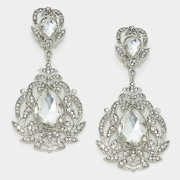 Clear Chunky Clip On Pageant Earrings image 1