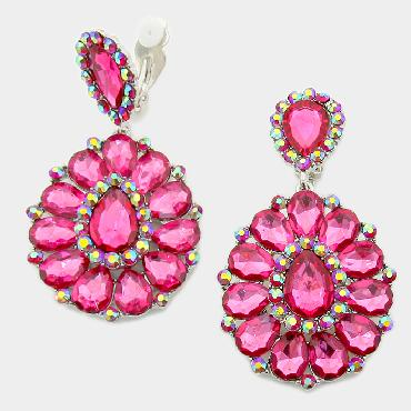 Image of Large Chunky Clip Earrings -Pink