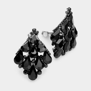 Black Clip On Pageant Earrings image 1
