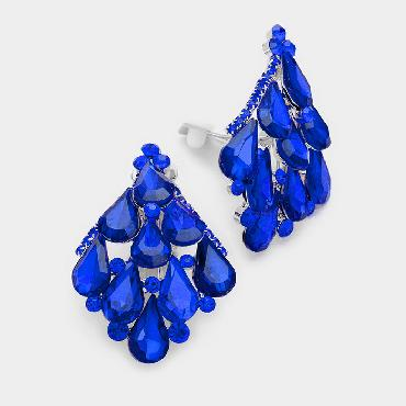 Royal Blue Rhinestone Clip on Earrings image 1