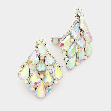 AB Crystal Clip on earrings image 1