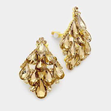 Gold Crystal Clip On earrings image 1