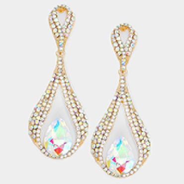 Image of Dangle rhinestone earrings Clip on