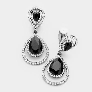 Black and Clear Clip On Earrings image 1
