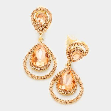 Peach Crystal Clip on Earrings image 1