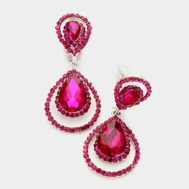 Fuchsia Crystal Clip On Earrings image 1