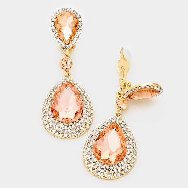 Peach/Clear Crystal Clip on Earrings image 1