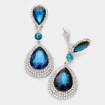 Teal and Clear Crystal Clip on Earrings image 1