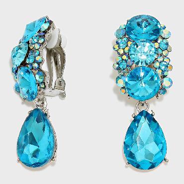 Image of Aqua Blue Clip on earrings