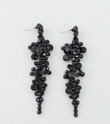 Black Rhinestone Drop and Dangle Prom Earrings image 1
