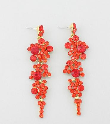 Orange Rhinestone Dangle Pageant Earrings image 1