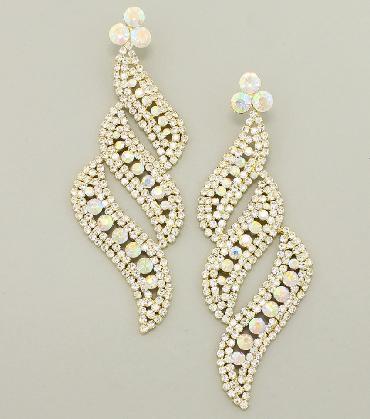 AB / Gold Oversized Earrings image 1