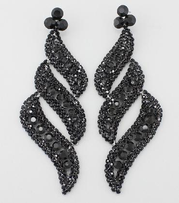 Black Extra Long Statement Pageant Earrings image 1