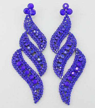 Blue Extra Large Rhinestone Pageant Earrings image 1