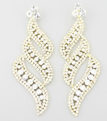 Clear / Gold Oversized Pageant Earrings image 1