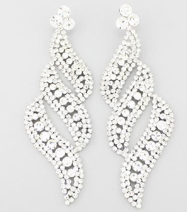 Clear Rhinestone Oversized Statement Pageant Earrings image 1