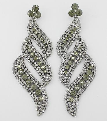Gunmetal/Grey Large Pageant Earrings image 1