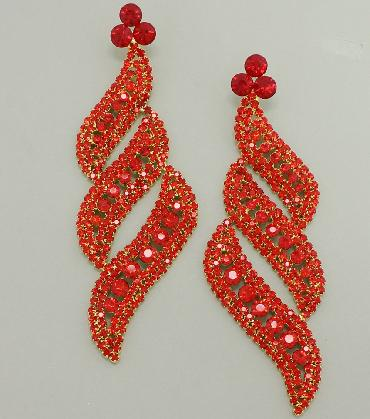 Large Red Rhinestone Pageant Earrings image 1