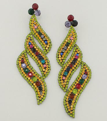 Multi Color Statement Pageant Earrings image 1