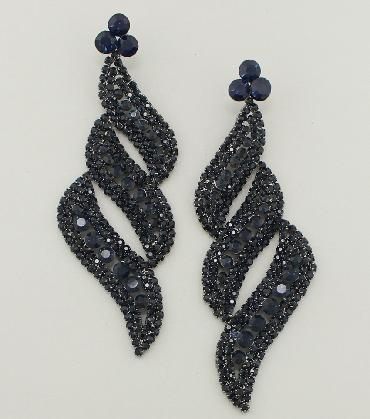 Navy blue Large Chandelier Pageant Earrings image 1