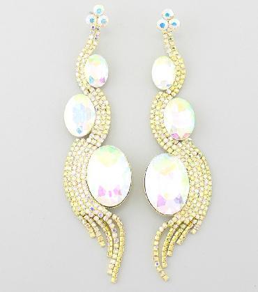 AB/Gold Long Earrings image 1