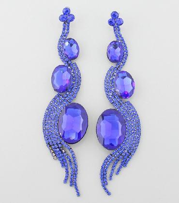 Blue Dangle Chandelier Long Pageant Earrings image 1