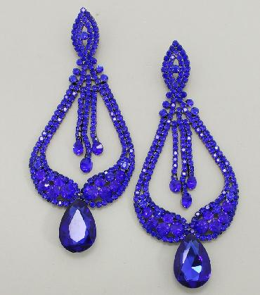 Blue Statement Pageant Earrings image 1