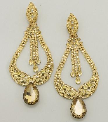 Gold Oversized Earrings, Huge Pageant Earrings image 1