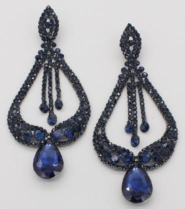 Navy Large Statement Pageant Earrings image 1