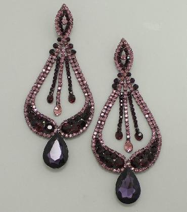 Purple Oversized Statement Pageant Earrings image 1